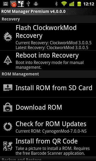 Установка оновлень за допомогою ROM Manager