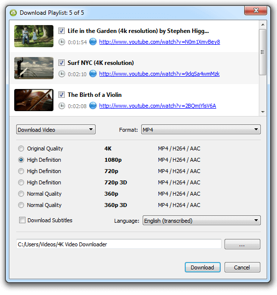 4K Video Downloader (Windows, macOS, Ubuntu)