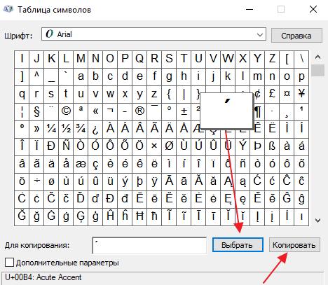 апостроф в таблиці символів