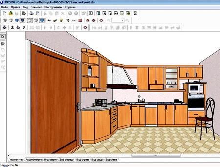 Так виглядає інтерфейс програми PRO 100 для проектування меблів