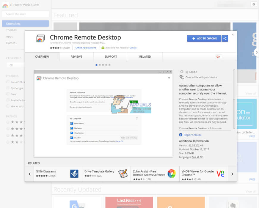 розширення Chrome Remote Desktpo