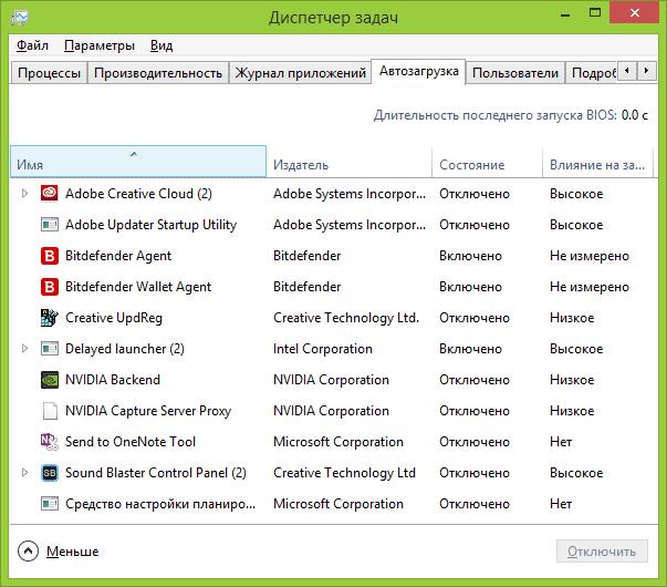 Відключення програм в автозавантаження Windows 10